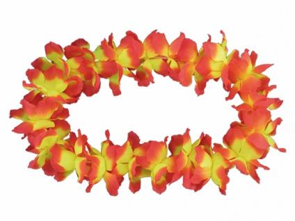 2 x Hawaiikette Blumenkette, orange gelb dicke Blüten, 12 cm