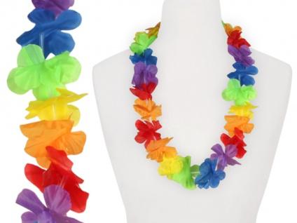 2 x Hawaiikette Blumenkette Textilblumen Regnbogen Hawaii bunt ca. 1 m
