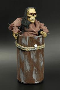 Skelett Figur Deko in Blechtonne animiert, Sound, leuchtet, bewegt sich