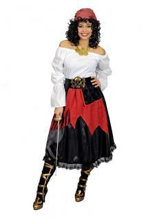 3 tlg.Piraten Piratin Rock, Gürtel Bluse Kostüm, Damen Karneval 36-38