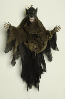 Deko Figur Werwolf, z. Aufhängen 85 cm, Sound /Blinkaugen Halloween