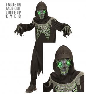 Sensenmann Tod 3 tlg. Kostüm Kinder leuchtende Augen Halloween Gr. 140