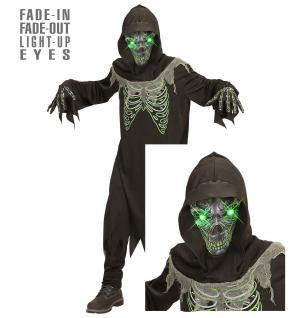 Sensenmann Tod 3 tlg. Kostüm Kinder leuchtende Augen Halloween Gr. 158