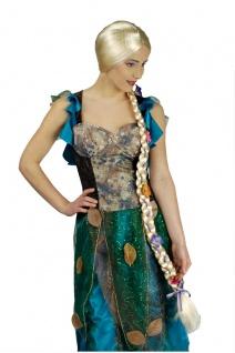 Rapunzel Zopf Perücke 80 cm lang, blond m. Blumen Damen Karneval
