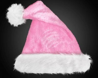 Weihnachtsmütze ROSA , Samt Plüsch dicker weißer Pelzrand, Bommel Damen