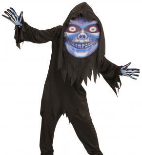 Sensenmann Horror Kostüm Kinder, Robe, Riesenmaske mit Kapuze Gr.158