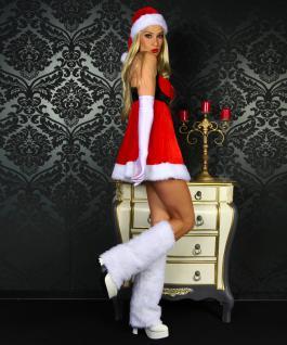 5 tlg Baby Doll Weihnachts Kostüm Damen Handschuhe, Stulpen, String, Mütze