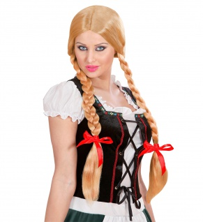 Perücke Damen Gretel Schulmädchen Wiesn Oktoberfest lange Zöpfe blond