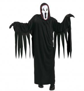 3 tlg. Geist Kostüm schreiender Geist + Maske schwarz Kinder L= 158