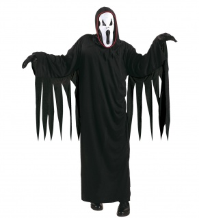 3 tlg.Geist Kostüm schreiender Geist + Gürtel Maske schwarz Kinder = 140