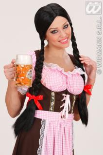 Perücke, Gretel, Schulmädchen, Wiesn, Oktoberfest lange Zöpfe, schwarz
