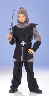5-tlg. RITTER Kostüm, Kettenhemd, schwarz-silber hochwertig 140