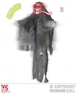 Figur Sensenmann, Tod, animiert m zitternder Stimme leuchtende Augen, Halloween