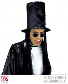 Vampir Lennon Brille rund schwarz silber Rauchgläser Halloween