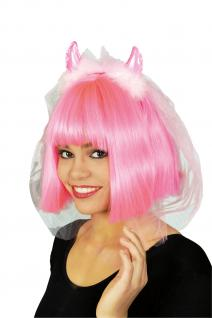 Haarreif Brautschleier Junggesellenabschied rosa pink, Teufels Hörner