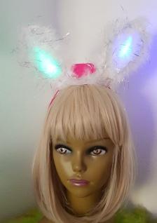 LED Leucht Haarreifen weiss Ohren Bunny Marabu Damen, Kinder Karneval