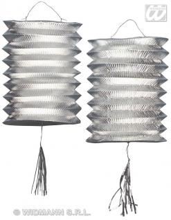 2 Laternen, SILBER Metallic, Lampion, Silvester, Party silber