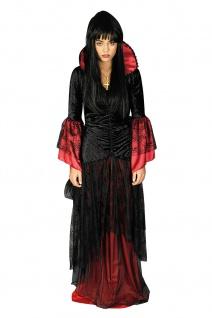 Vampir Hexen Hexen Gothic Kostüm mit Halsband schwarz-rot Damen 36-54