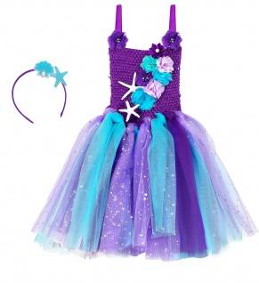 Meerjungfrau Kostüm Kleid Tutu Mädchen Kinder 2tlg mehrfarbig Gr 116 - Vorschau 2