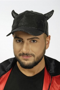 Basball Kappe Cap schwarz Glitter + Hörner Halloween verstellbar