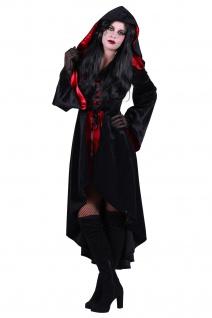 Vampir Hexen Kostüm Damen rot schwarz, Kapuze, Fledermausärmel Halloween