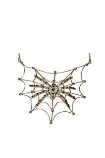 Spinnen Collier, Gothic, Hexe Halloween Karneval silber Damen