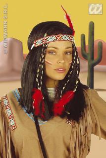 Indianerin, Indianer Perücke schwarz, Squaw Karneval mit Feder, Damen