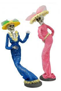 SET: Skelett Stand Figur Lady Grazie biegsam, DEKO Halloween 47x16 cm