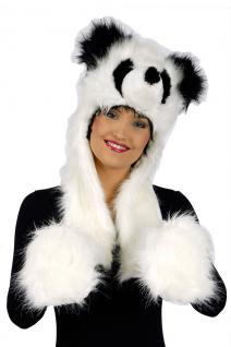 Plüschmütze mit Handwärmer Handschuhe Panda Damen