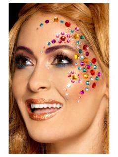 Schmucksteine Glitzersteine bunt Strass Rainbow Gesicht 100 Stück Damen