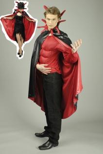 Teufel Umhang Steh Kragen schwarz rot Herren 136 cm Damen 115 cm Karneval