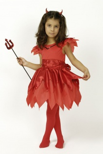 3 tlg Teufel Kostüm, Mädchen Kinder + Haarreif +Teufelsgabel rot - Vorschau 2