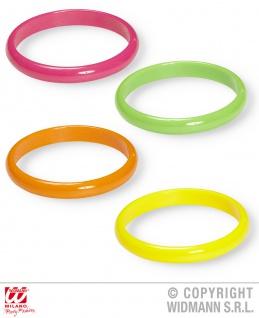 80er Jahre, 4er Set bunte Armringe Neon grün-pink-orange-gelb Damen - Vorschau 2