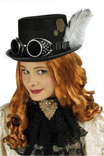 2 tlg Zylinder, Steampunk schwarz + Fliegerbrille Mittelalter Gothic Damen