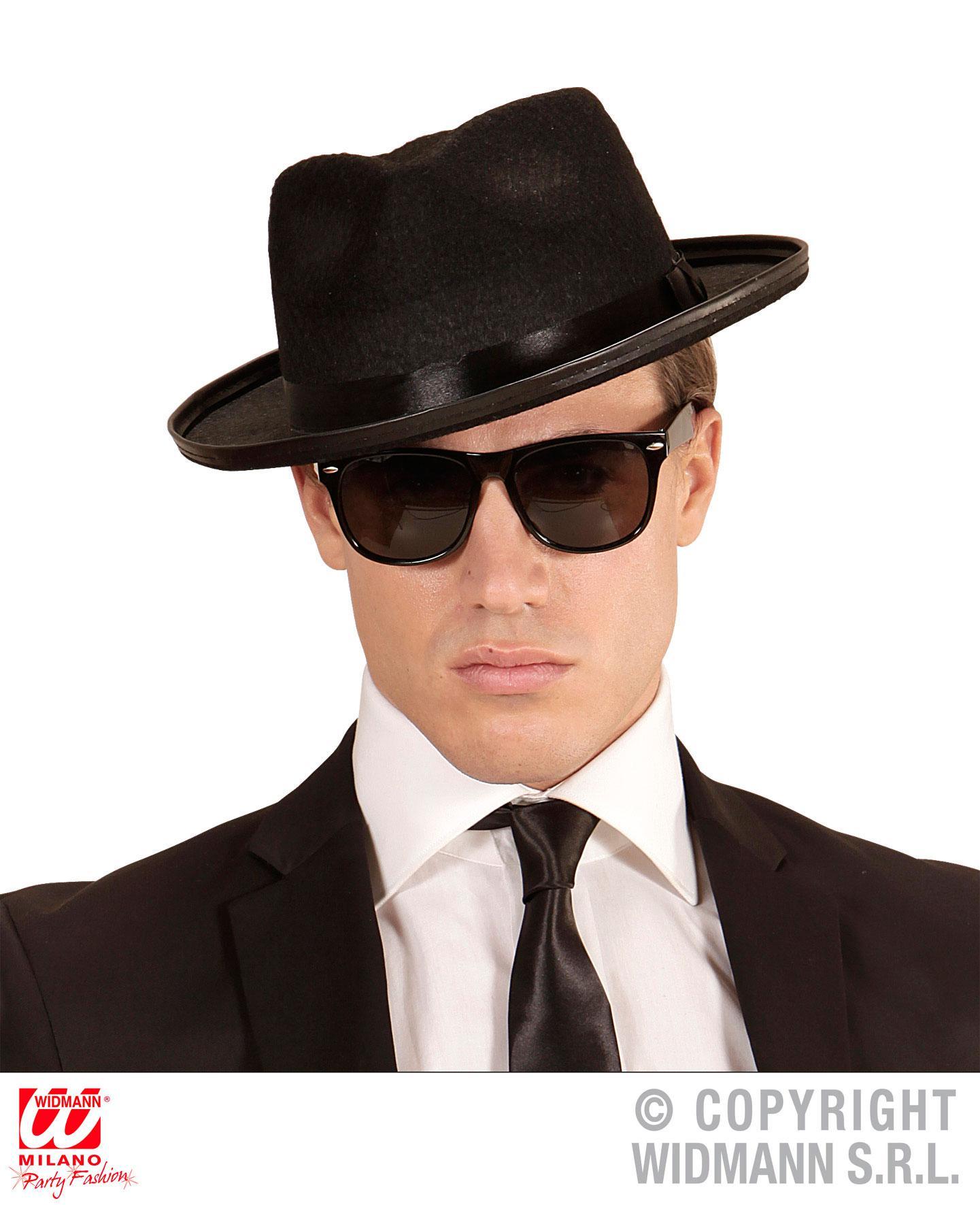 Hut Blues mit Brille zum coolen Gangster Karneval Fasching Orl