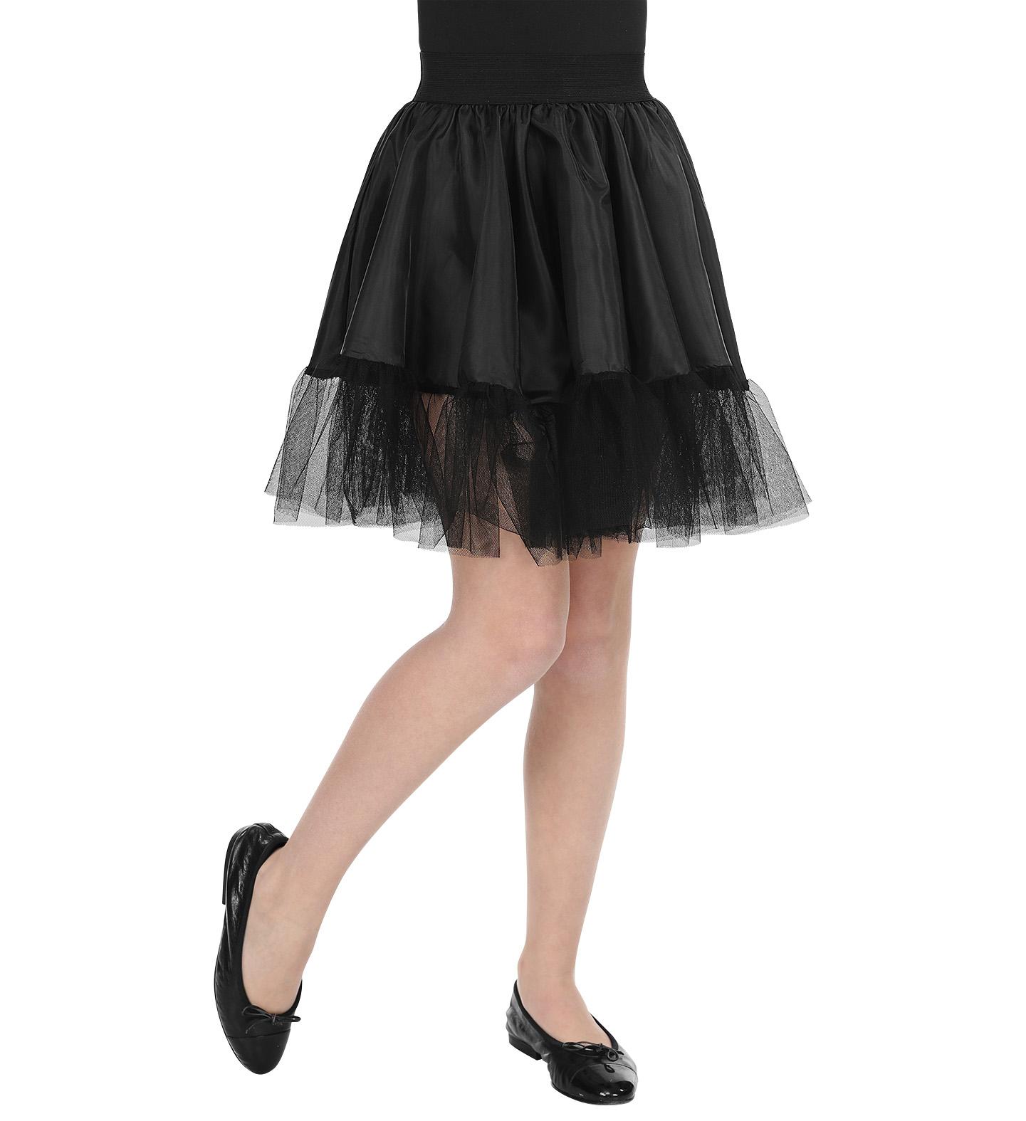 new concept ccfa5 3cc1a Satin Petticoat Unterrock, knielang, schwarz Tüll Tütü Kinder, Mädchen