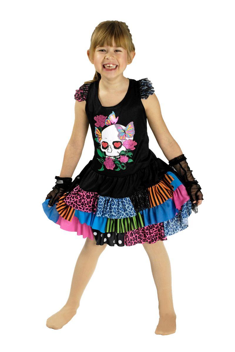 Halloween Kleider Fur Kinder.2 Tlg Punk Kostum Kinder Kleid Netzstulpen Los De Muertos Halloween 134 140