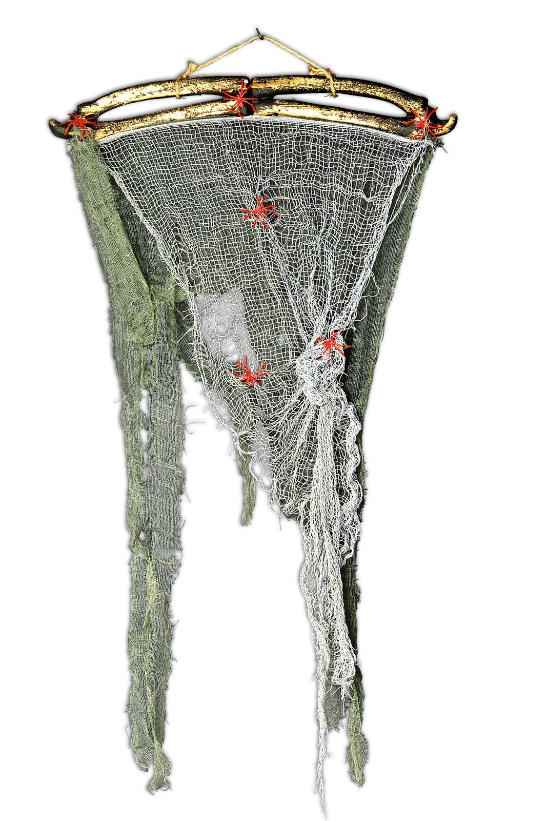 deko vorhang lumpenfahne grau gr n t r fenster halloween befestigung kaufen bei preiswert123. Black Bedroom Furniture Sets. Home Design Ideas