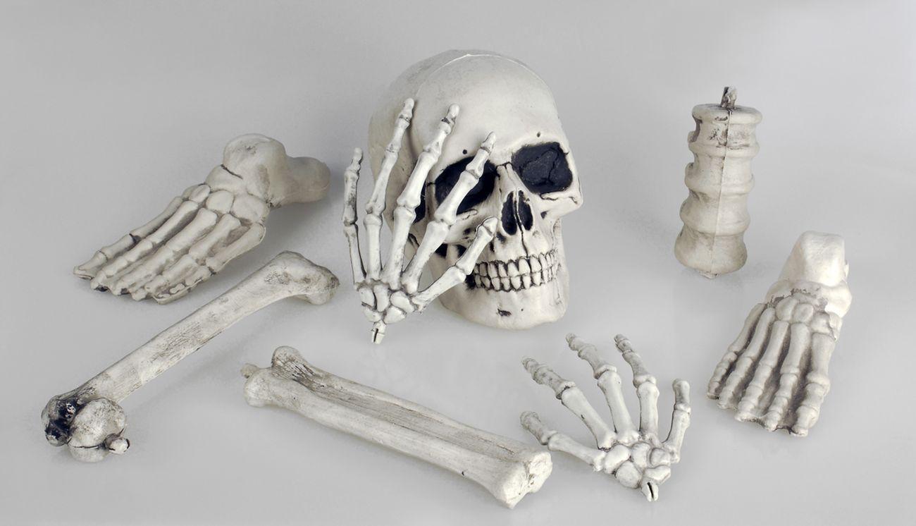 8 tlg. Schädel Knochen und Gebeine Sack, Deko Halloween, Grusel ...