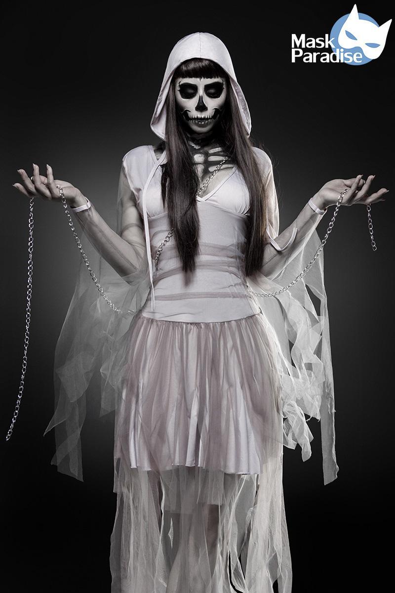 skeleton ghost grau komplettset kostum halloween damen 1