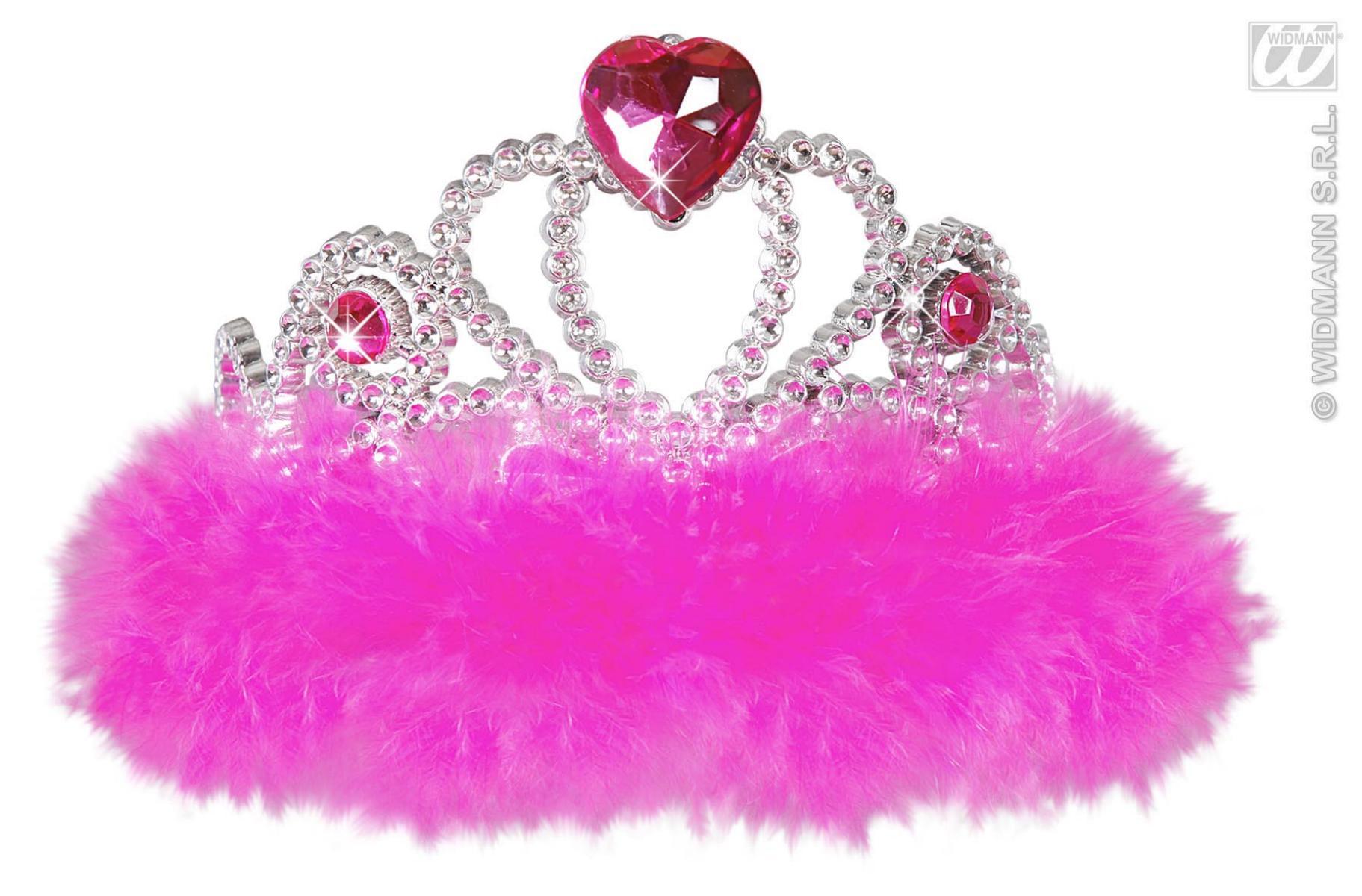 Diadem, Krone weiß oder pink mit Marabou Federn - Kaufen