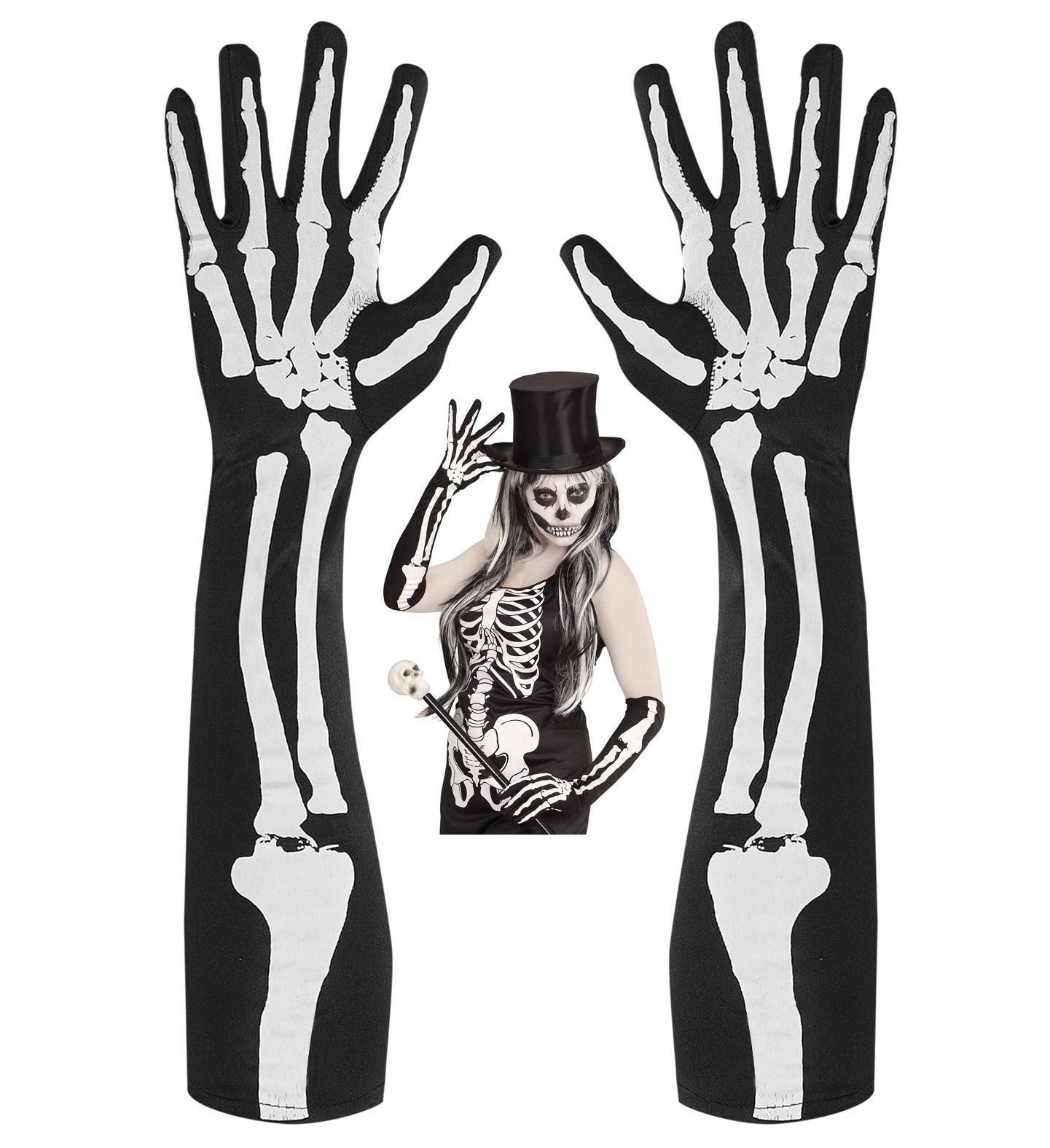 schwarze Skelett Knochen Finger Handschuhe lang Damen Halloween ...