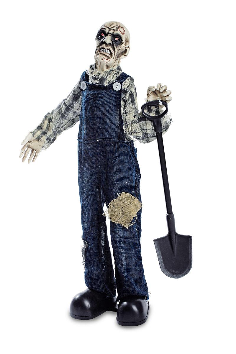 Deko Figur animiert Zombie Totengräber Standfigur 75cm mit Blinkaugen