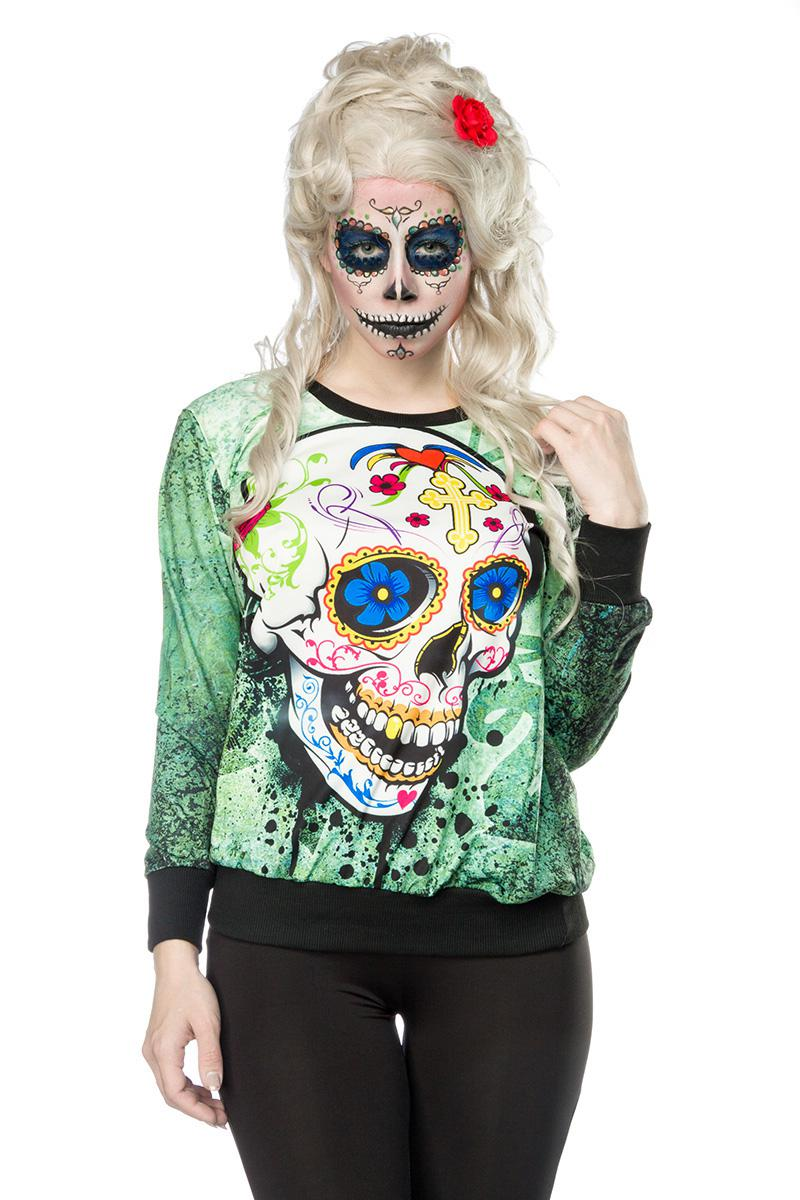 Shirt Dia de los Muertos Pullover Damen Halloween Kostüm