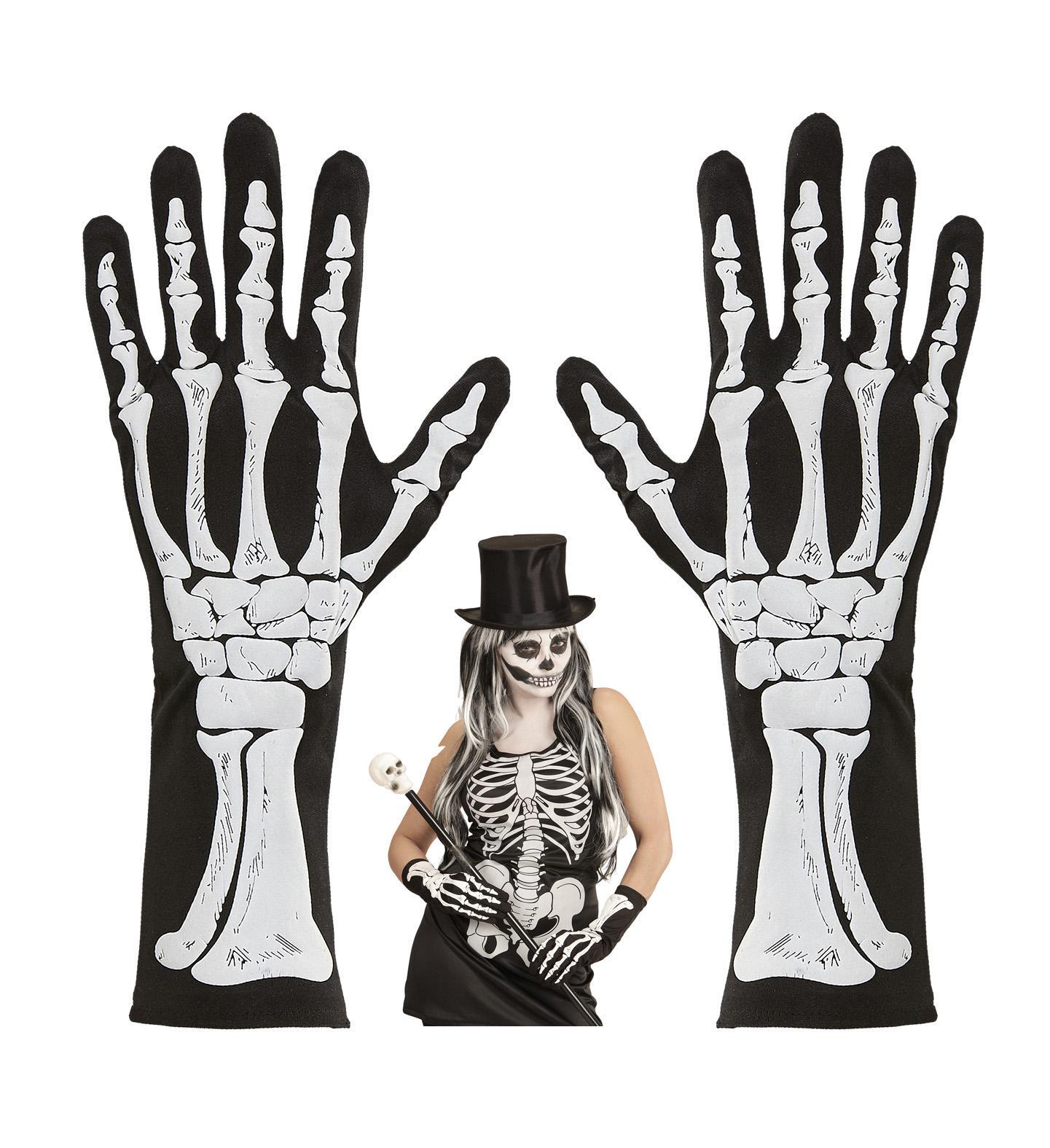 schwarze Skelett Knochen Finger Handschuhe halblang Damen Halloween ...