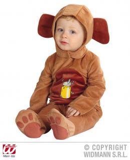 BÄR, Bärenkostüm Kinder Overall + Kopfbedeckung, 90cm ca 1-2 Jahre