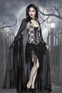 3 tlg sexy Vampir Kostüm, Umhang Stulpen Halloween Damen