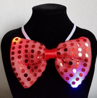 LED Fliege ROT blinkt Pailetten Party Gag 4 Modi Karneval Junggesellen