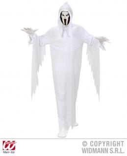 GEIST Kostüm, weiß mit Maskenkapuze + Gürtel ---122-128