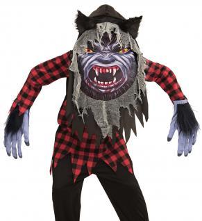 Werwolf Kostüm Kinder, Tunika, Riesenmaske mit Kapuze Gr.158